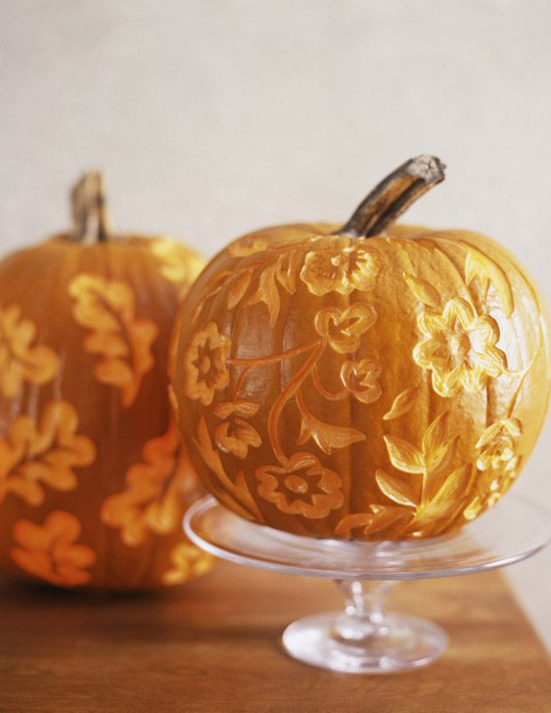 Carve a beautiful floral pattern into your pumpkin.