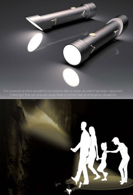 Two-headed flashlight. Stay safe at night during your run or a walk with the family.