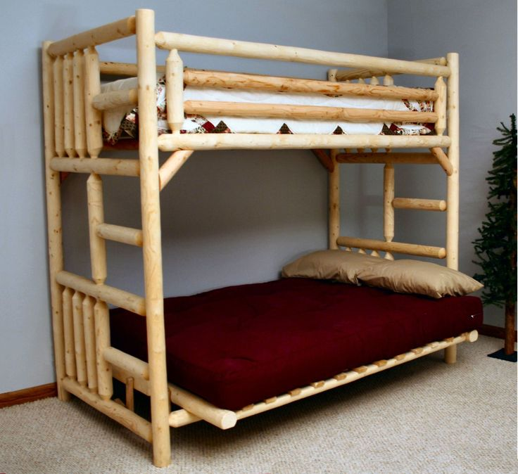 Furniture Brown Cylinder Wooden Bunk Bed With White