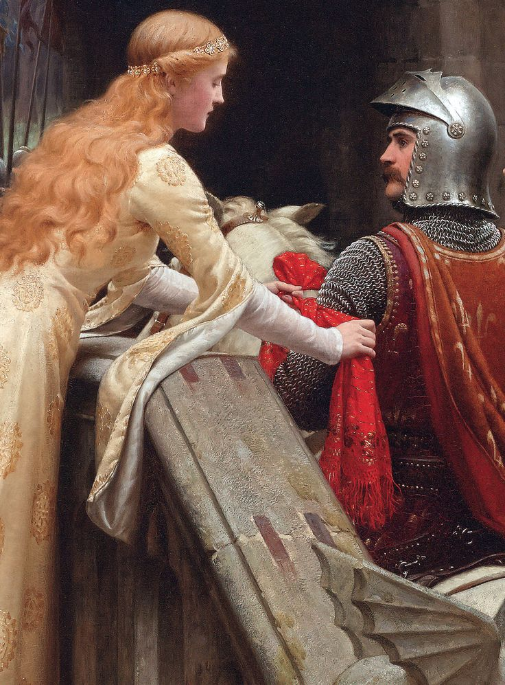 God Speed! (detail) 1900.Edmund Blair-Leighton. The Knight in Shining Armor receives The Lady's Favour