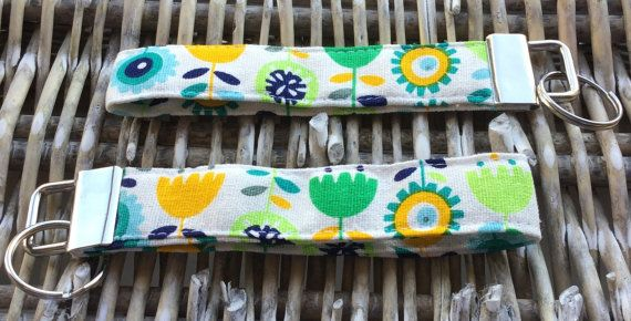 Floral print fabric keyring / keychain / by LittlePeaHandmade