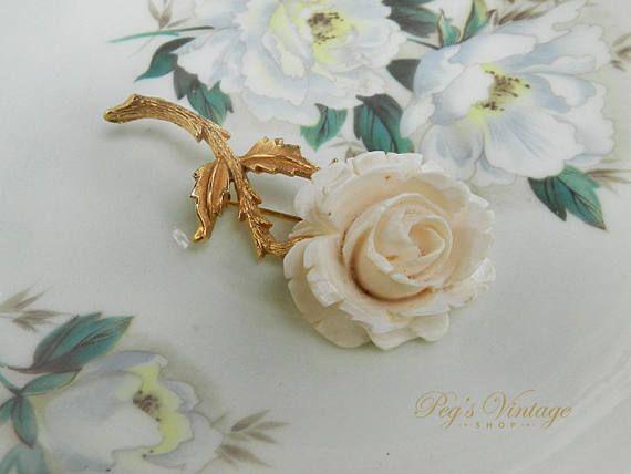 Vintage Rose Carved Celluloid Brooch Ivory Colour Rose Pin