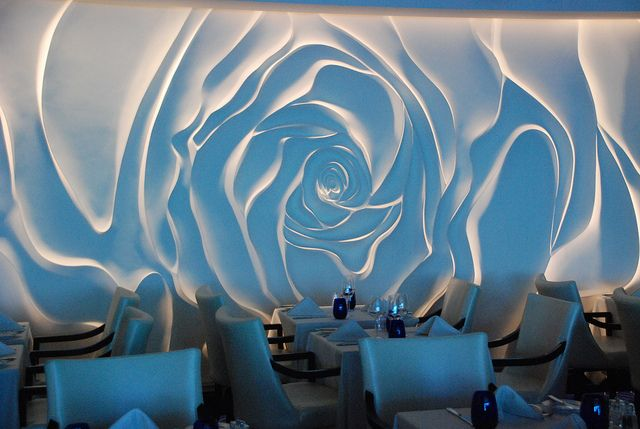 Rose wall decor - Blu Restaurant aboard the Celebrity Millennium