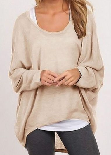 Khaki Round Neck Long Sleeve T Shirt