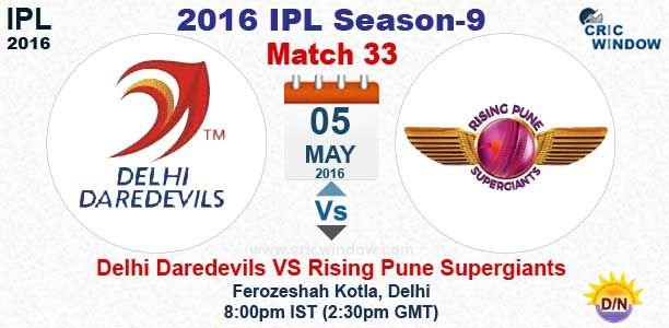 IPL 2016: Match 33 : Delhi vs Pune Live Feroze Shah Kotla Stadium, Delhi http://www.cricwindow.com/cricket_live_scores.html http://www.cricwindow.com/cricket-live-match-video.html