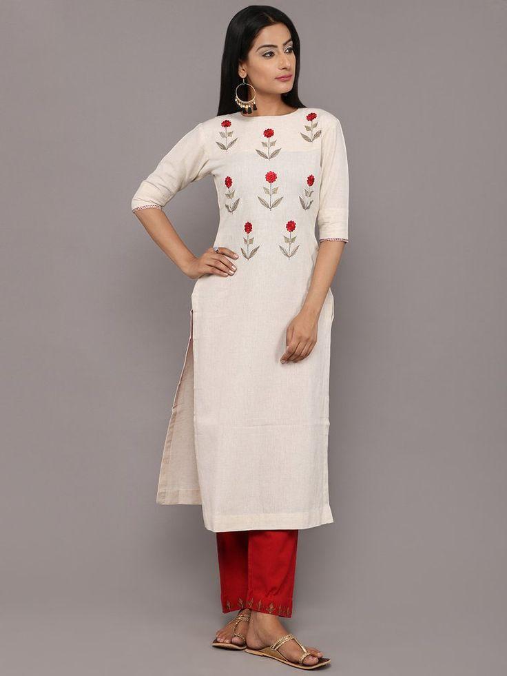 Ivory Red Mogra Embroidered Khadi Kurta and Pants  - Set of 2