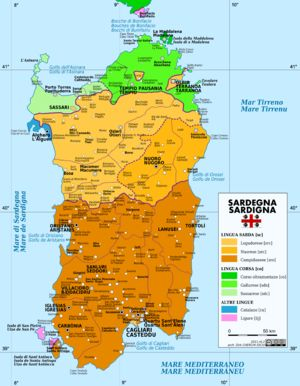 Sardinia's relative isolation from mainland Europe encouraged the development of a Romance language preserving traces of its indigenous, pre-Roman language. The language is posited to have substratal influences from Nuragic, Basque, and Etruscan. Adstratal influences include Catalan, Spanish and Italian. Languages and dialects of Sardinia. Sardinian is yellow (Logudorese) and orange (Campidanese).