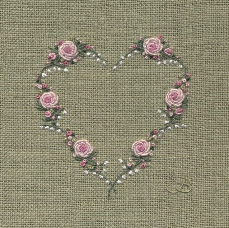 Jo Butcher, Embroidery Artist - Rose Lily of the Valley Heart