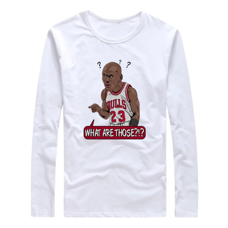 ==> [Free Shipping] Buy Best 2017 What Are Those? #23 Michael Jordan Autumn Winter Men T-Shirt Long Sleeve T SHIRT Men's gods legend Comic Cartoon W1026036 Online with LOWEST Price | 32820199424
