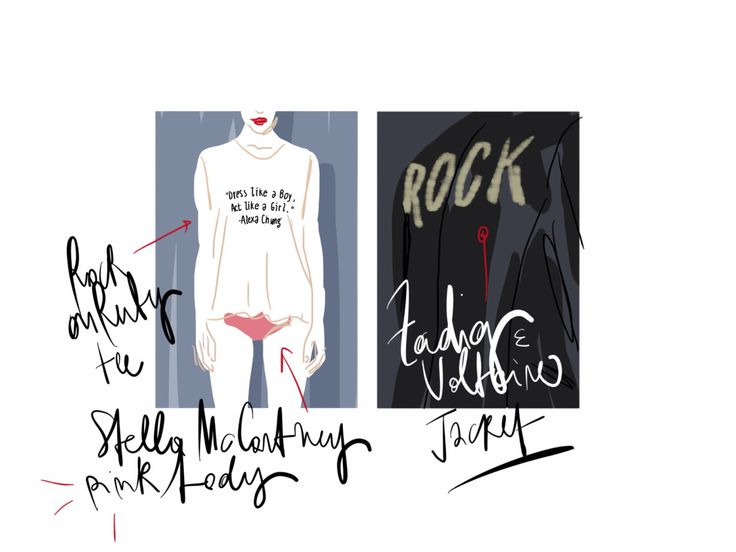 Dress like a Boy, act loke a Girl - Rock on Ruby T-shirt, Stella McCartney body, Zadig & Voltaire jacket / Open Toe, fashion illustrated opentoeillustration.com