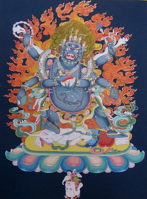 "Mahakala known as Gonpo in Tibetan was originally a demon, who was tamed by Manjushree and Avalokiteswora and turned into a fierce protector of Buddhism, belonging to the Dharmapalas. This important spiritual protector deity is also known as ""the lord of the wind"", and ""the great black one"", a great guardian of the Dharma."