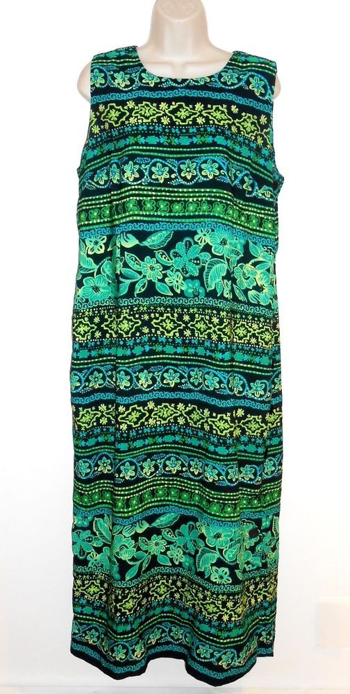 Coldwater Creek 14 Dress Print Green Black Sleeveless #ColdwaterCreek #Sheath #Casual