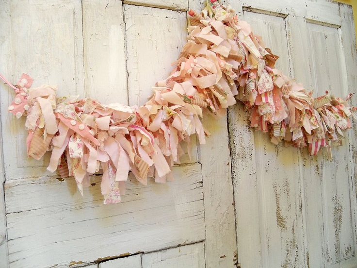 Hand Made Shabby Chic Pink Scrap Fabric Garland Very Full