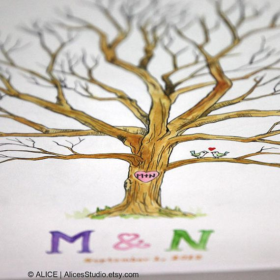 Custom Hand Drawn Colored Wedding Wish Tree Guest Book, Lovebirds, 16 x 20 in, 70-120 Guests, Thumbprint Guestbook, Free Gift with Purchase