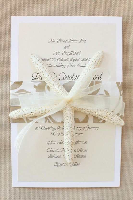 Beach wedding invitation, featuring White Finger Starfish