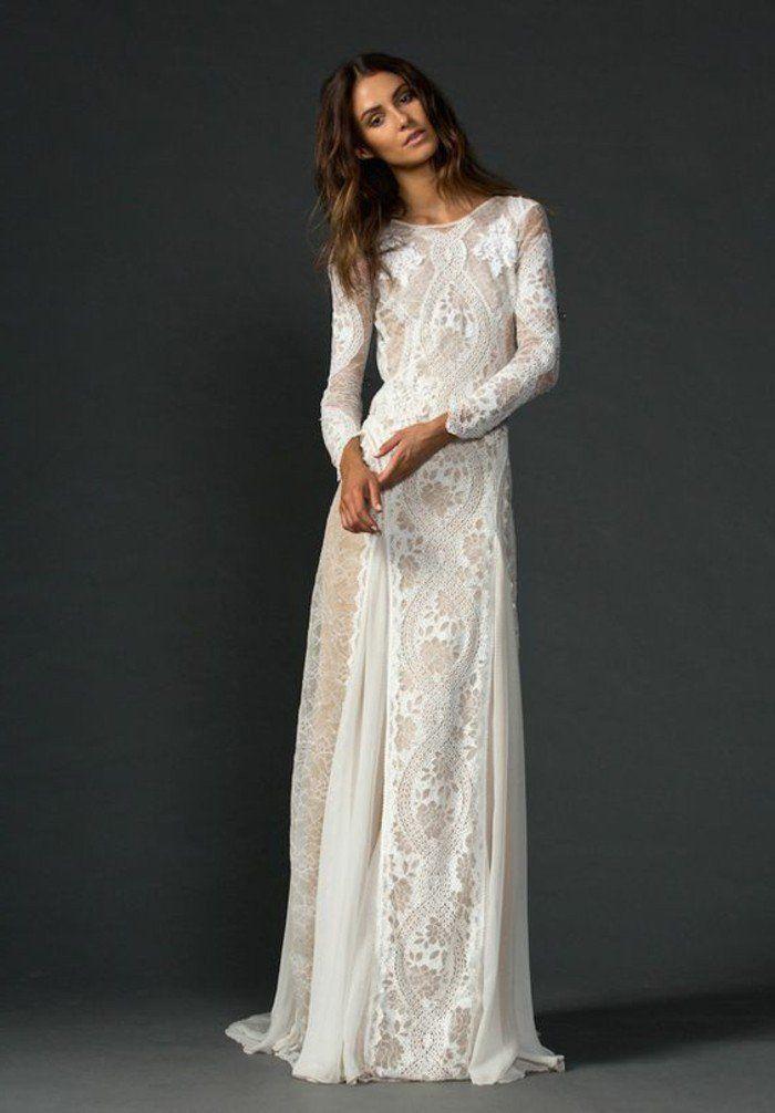 robe longue en dentelle blanche, robe de mariée simple avec manches longues