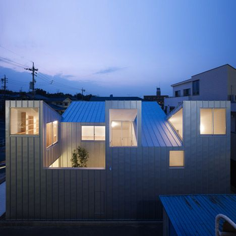 This house in Nagoya by Japanese architect Tomohiro Hata has five roofs that pitch in opposing directions.