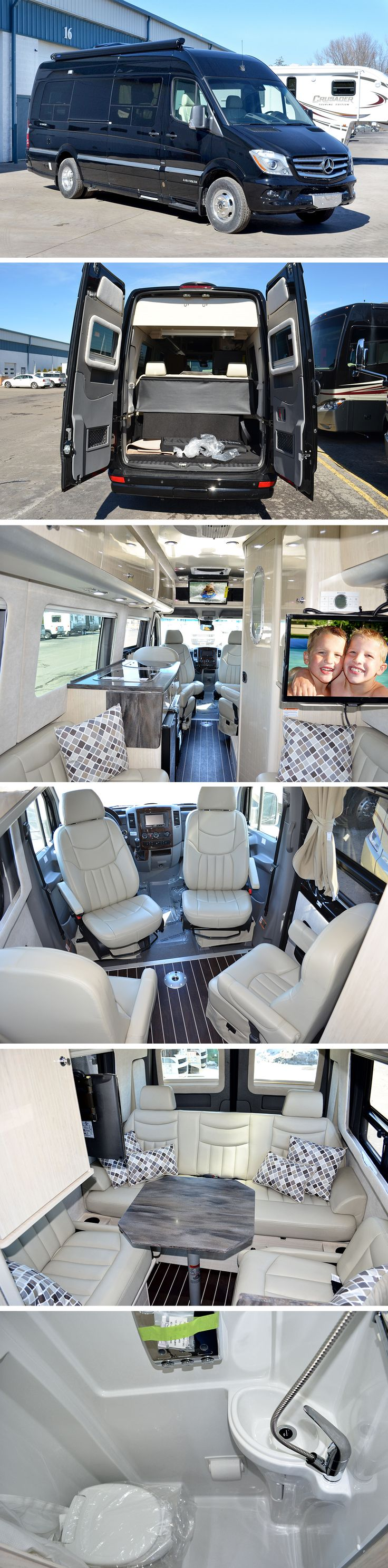 New 2014 Airstream Interstate 3500 Class B The Interstate Lounge EXT seats up to nine and is perfect for travelers in search of versatility and space. It offers tremendous flexibility, room to socialize, and sleeping accommodations that will make you feel right at home. If you're looking for a large galley area, open floor space, and easy access to storage, you'll find it in the Lounge EXT.