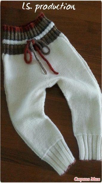 *Вязаные шерстяные штанишки малышу по мотивам Drops.