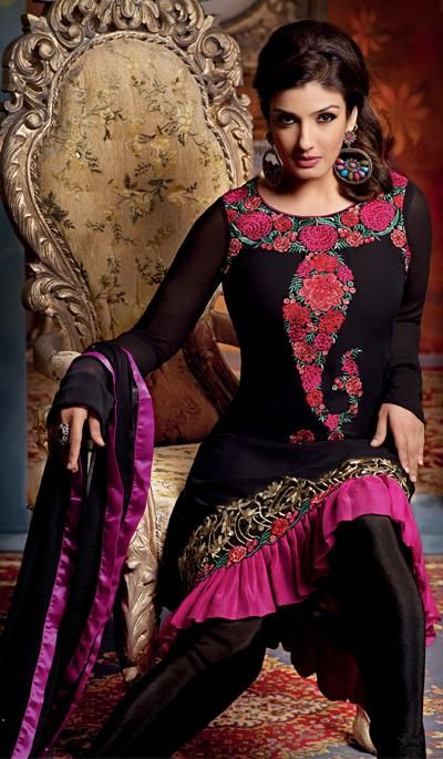 G3 fashions Raveena Tandon Black Georgette Wedding Wear Salwar Suit.  Product Code : G3-LSA103969 Price : INR RS 3142