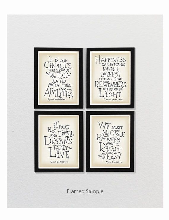 """Getting this set for my new """"office""""! Set of 4  Albus Dumbledore quote  Harry Potter by SimpleSerene, $42.00"""