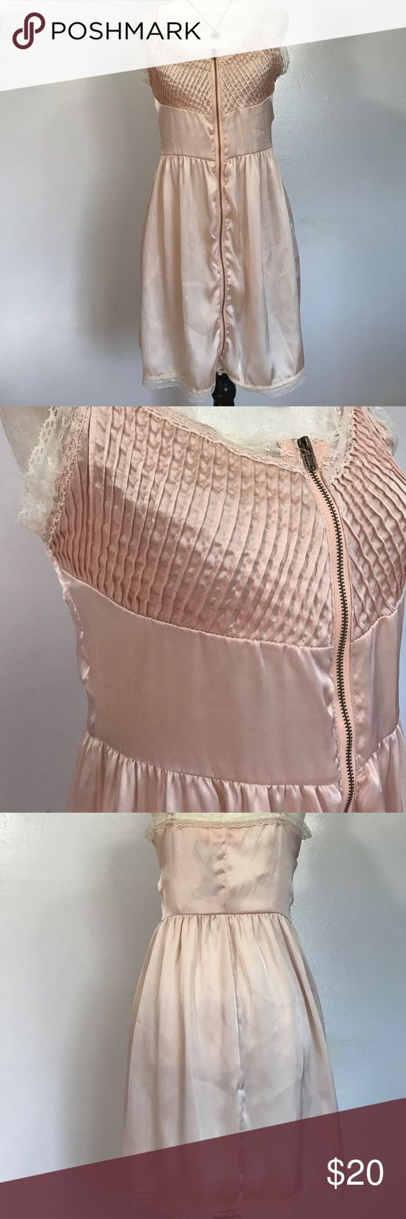 Urban Behavior Apricot Lane Zippered Dress- Med Lovely dusty pink polyester dress that honestly feels like pure silk! Lightweight, & falls beautifully- adjustable spaghetti straps & full front zipper for that fabulous edgy look💞 Urban Behavior Dresses Mini