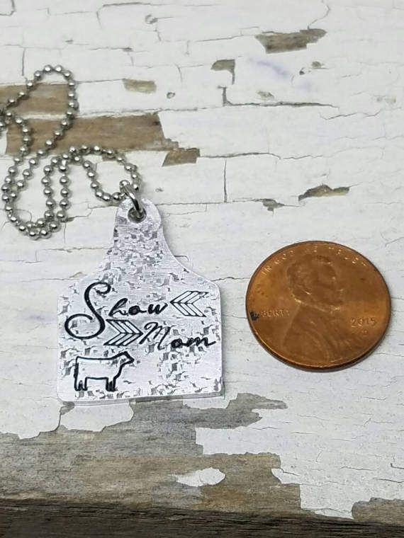 Show pig necklace ear tag necklace cattle tag ear tag