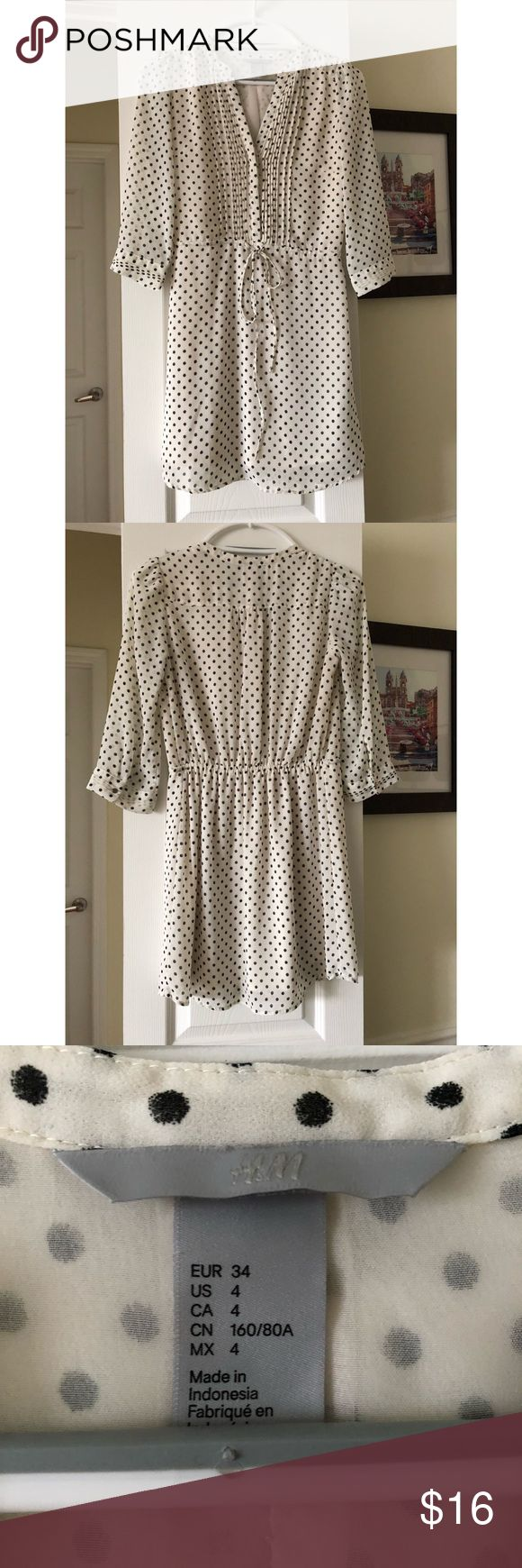 ✨H&M white polka dot dress ✨ Beautiful light and airy white polka dot dress from H&M. Runs small and fits more like a 2 than a 4 so listed as a size 2. Adorable dress that can be dressed up for work or enjoyed as a casual weekend dress with sandals and sunglasses! In like new condition, only worn twice. 👗✨🛍 H&M Dresses Mini