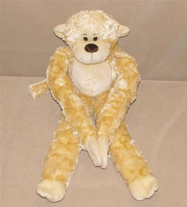 "Animal Alley Cream Tan Monkey Long Arms Legs Hanging Plush Bean Bag 24"" Toy 2000 #AnimalAlley"