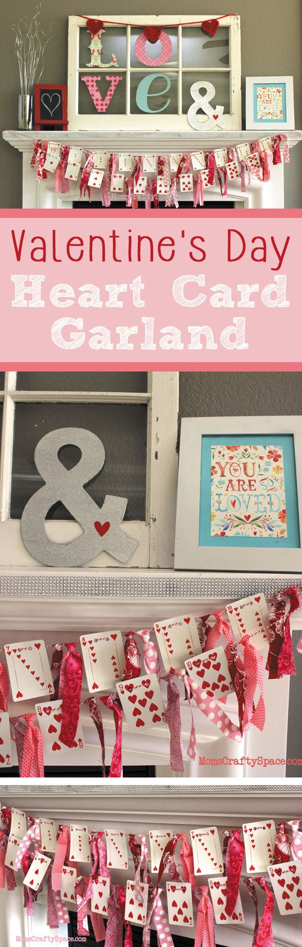 Valentines Day: Valentine's Day Heart Cards Garland - Happiness is...