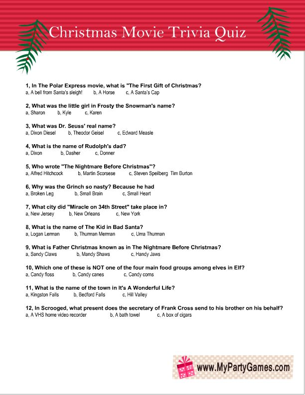 Free Printable Christmas Movie Trivia Quiz Worksheet 3