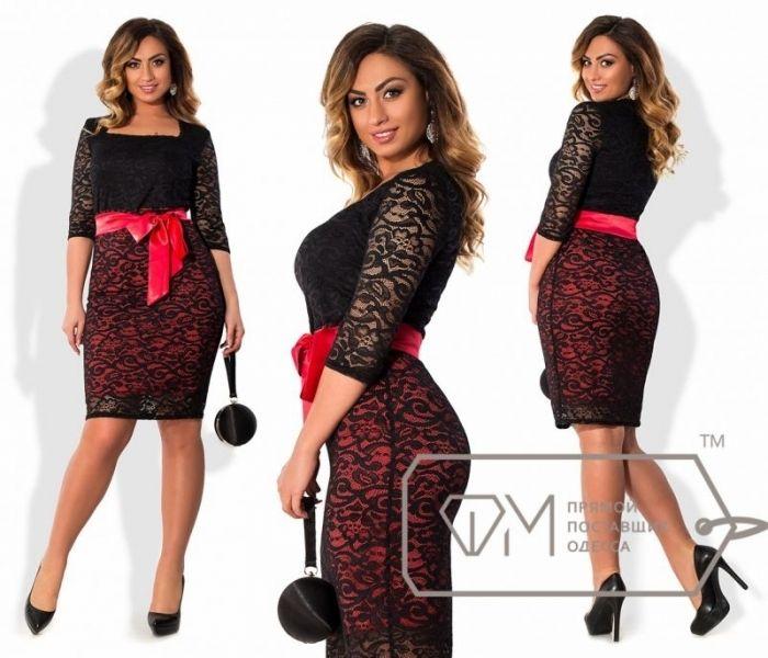 Элегантное гипюровое платье с квадратным вырезом атласный пояс красный