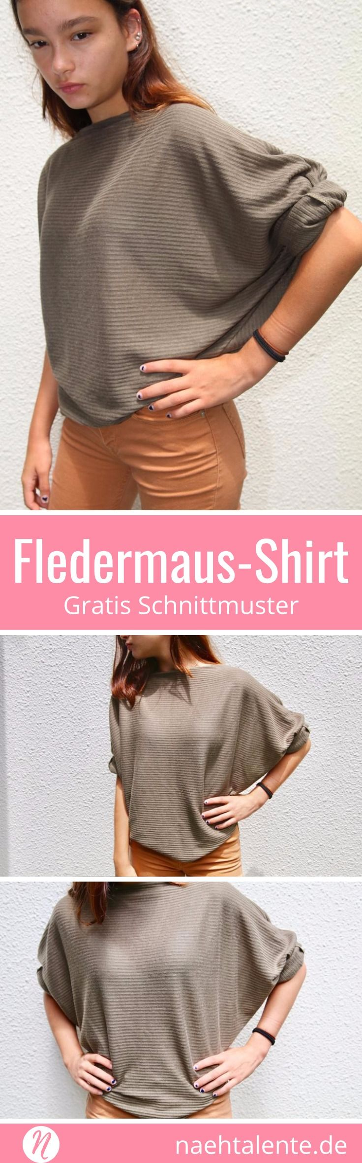 Gratis Schnittmuster: Fledermaus-Shirt mit langen Ärmel und U-Boot-Ausschnitt ❤ PDF Schnittmuster zum Ausdrucken ❤ Gr. S - 3XL ✂ Nähtalente.de - Magazin für kostenlose Schnittmuster und Hobbyschneider/innen ✂ Free sewing pattern for an easy kimono shirt with bootneck. PDF pattern for print at home ❤ Size S - 3 XL ✂ Nähtalente.de - Magazin for sewing and free sewing patterns ✂ #nähen #freebook #schnittmuster #gratis #nähenmachtglücklich #freesewingpattern #handmade #diy