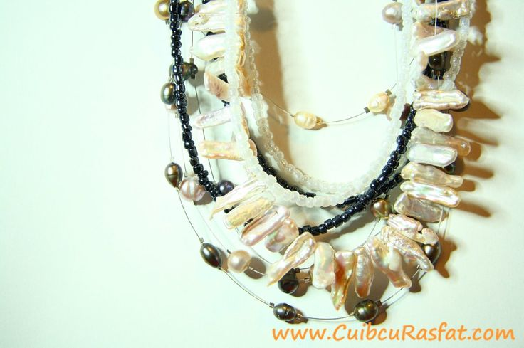 handmade necklace made with biwa and freshwater pearls and other beads