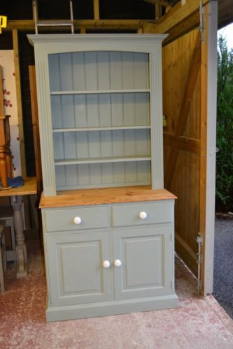 Shabby chic pine welsh dresser in Annie Sloan chalk paint - grey and wood and white combo
