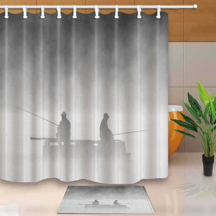 people fishing silhouettes in fog fabric shower curtain set bathroom 71inch