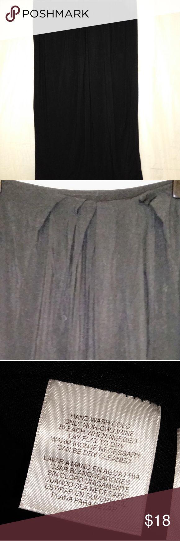 Anne Klein NY Black Skirt L Mid Calf Modal Blend Anne