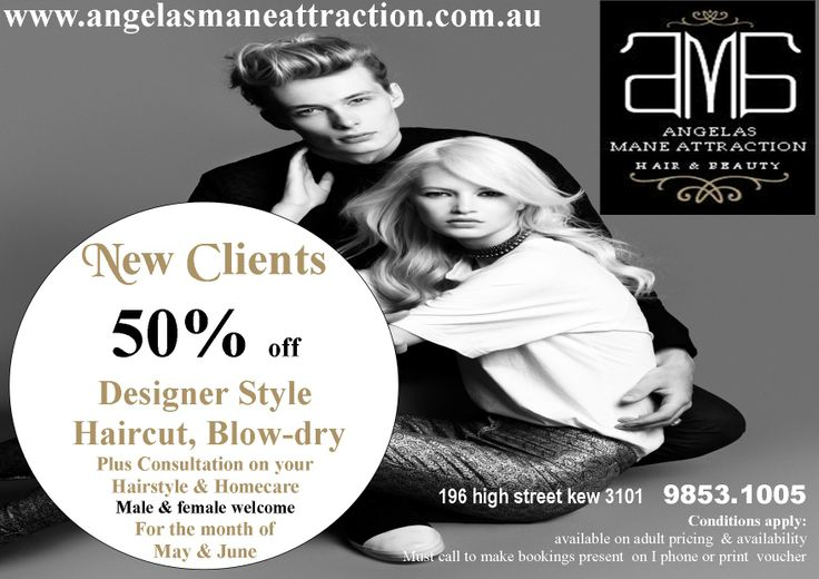 new clients only 50%off designer style cut & blowdry call now on 0398531005