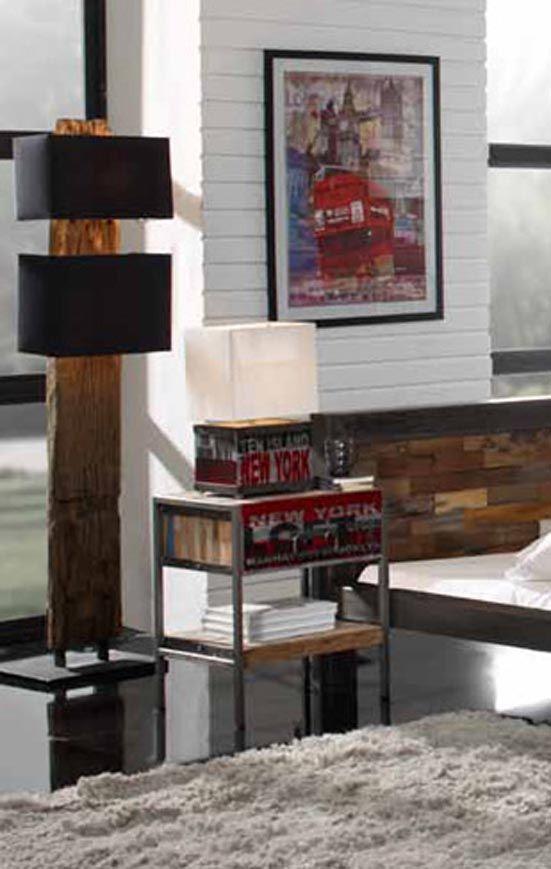 .Nattbord i industriell stil fra kolleksjon URBAN FACTORY. www.dekorasjondesign.com, din komplette nettbutikk innen designmøbler. (bilde 1)