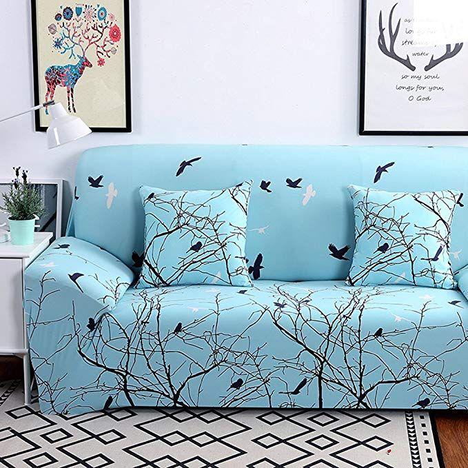 Hysenm 1 2 3 4 Seater Sofa Cover Home Da C Cor Stretch Elastic Slipcover Couch Cover Easy Fit Bird 4 Seater 2 Simple Couch Loveseat Slipcovers Slip Covers Couch