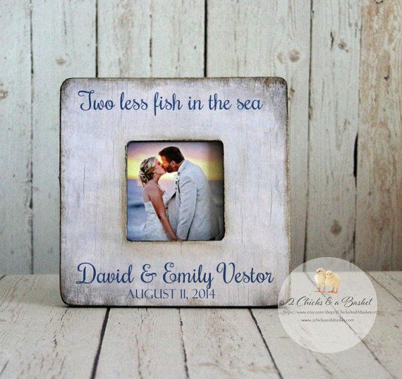Two Less Fish In The Sea Picture Frame Shabby Beach Personalized Wedding