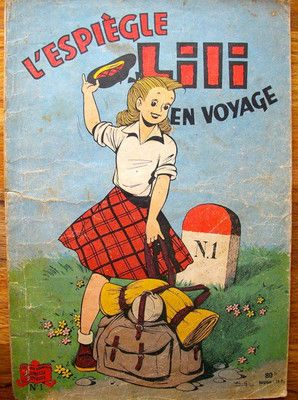 L Espiegle LILI EN Voyage N ° 1 Papier 1955  Et le fameux professeur Minet!!!