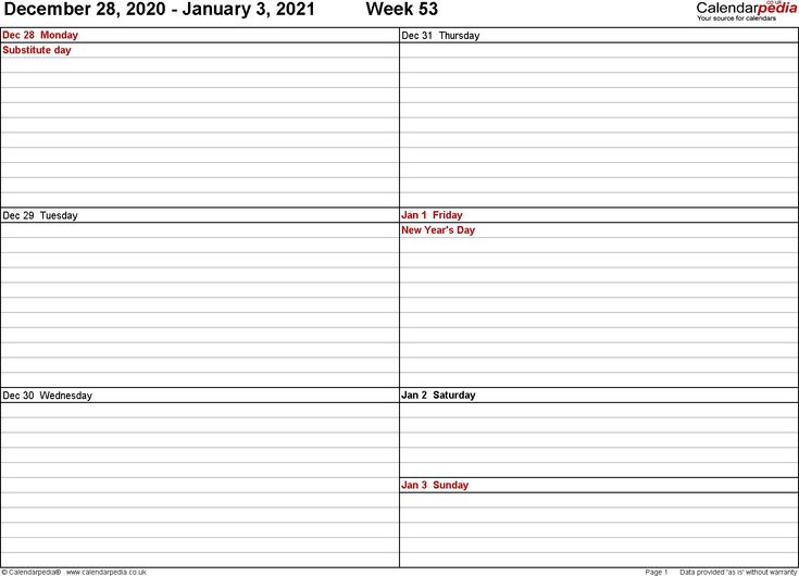 2021 Weekly Calendar Excel Free di 2020