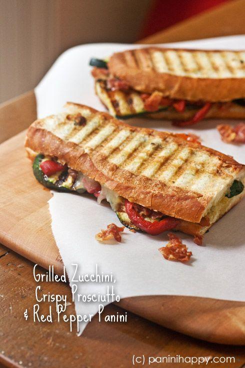 Fresh, fresh, fresh flavors!! Grilled Zucchini, Crispy Prosciutto and Red Pepper Panini