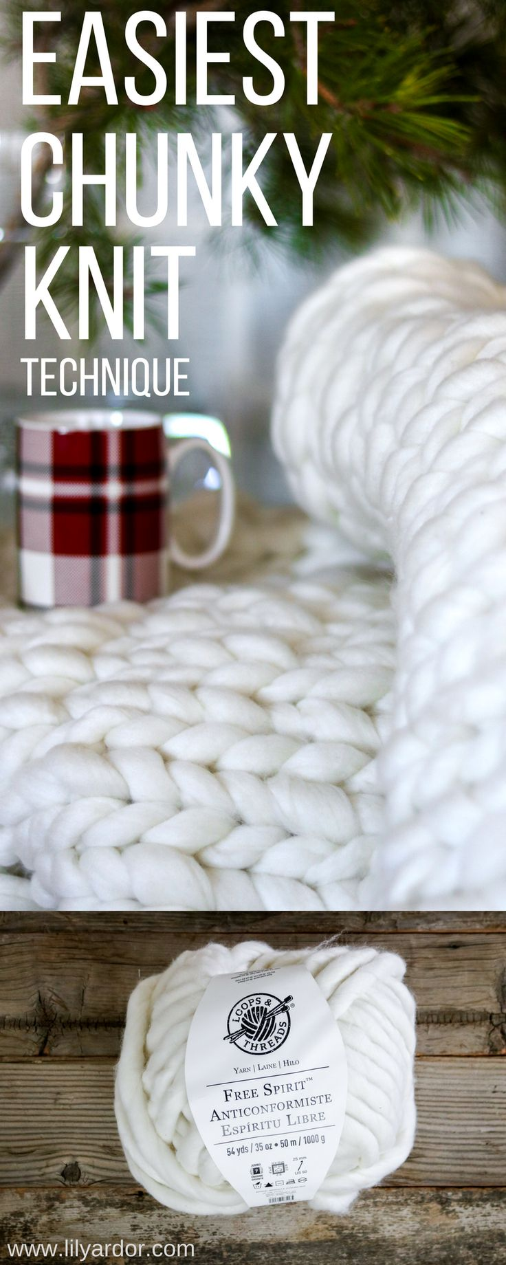 No knitting needles or experienced needed to make your own chunky knit blanket!!