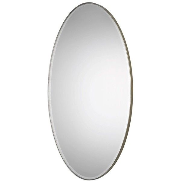 Uttermost 'Petra' Oval Mirror (£235) ❤ liked on Polyvore featuring home, home decor, mirrors, metallic silver, uttermost mirrors, beveled wall mirror, oval mirror, oval wall mirror and uttermost wall mirrors