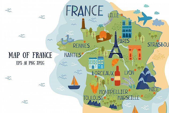 Vector Map Of France France Map Map Vector Map