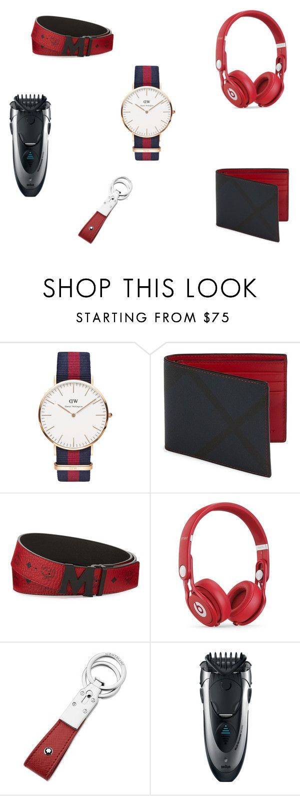"""""""Valentine's day gift guide for him"""" by lacreativeme on Polyvore featuring Daniel Wellington, Burberry, MCM, Beats by Dr. Dre, Montblanc, Braun, men's fashion and menswear"""