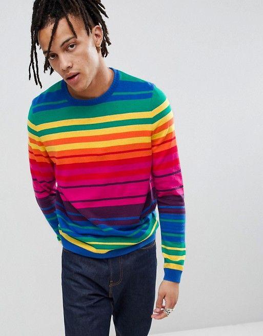 e13943c899837 ASOS DESIGN knitted rainbow stripe sweater Sweater Cardigan, Jumper, Men  Sweater, Rainbow Sweater
