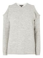 Womens Grey Cold Shoulder Jumper- Grey